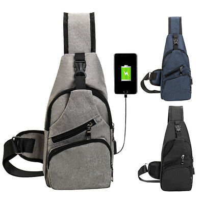 2018 Men's Sling Bag With USB Charging Chest Pack Crossbody Shoulder Bags New AU