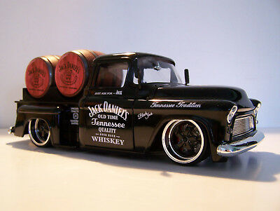 55 Chevy Sidestep Ute Jack Daniels1/24 Black Diecast pickup With Barrels
