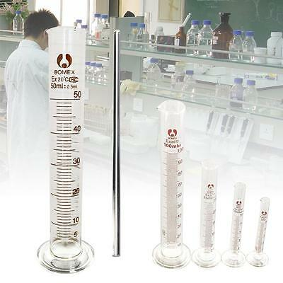 5-100ml Glass Measuring Cylinder Chemistry Lab Measure Graduated Professional BU