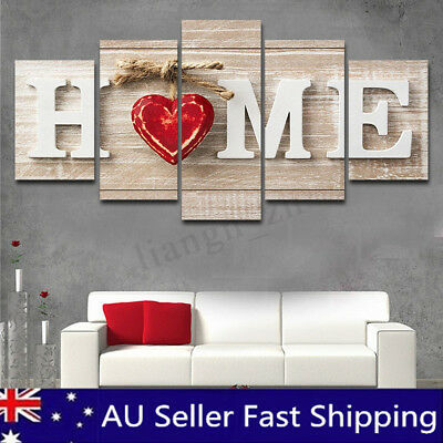 5 Panel Love Heart Canvas Print Painting Wall Art Picture Home Decor Unframed AU
