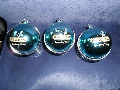 babycham christmas baubles 3 and 3 glasses