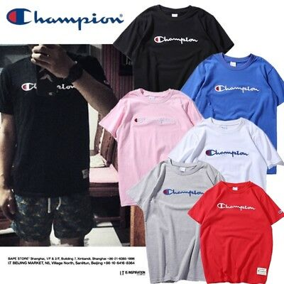 🇦🇺 AU Champion Tee Shirt T-Shirt Short Sleeves Embroidery Logo 100% Cotton