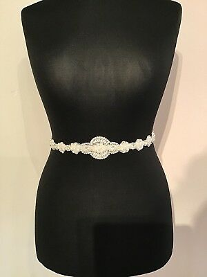 Pearl and crystal bridal sash