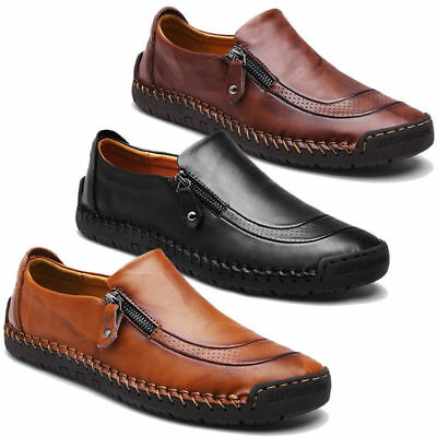 Men's Fashion Leather Casual Zipper Shoes Breathable Antiskid Loafers Moccasins