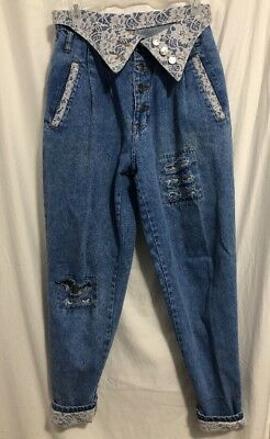 VTG 80'S TRAFFIC Denim & Lace Distressed Button Fly High Waist Jeans Women's 9
