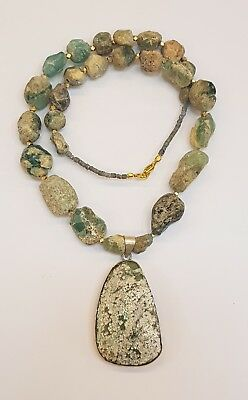 Beautiful Roman Glass Beads Ancient Necklace With Pendant Rare Patina  # 50v