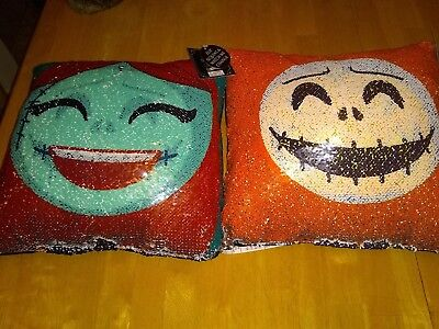 The Nightmare Before Christmas Disney Jack Skellington and Sally Sequins Pillow