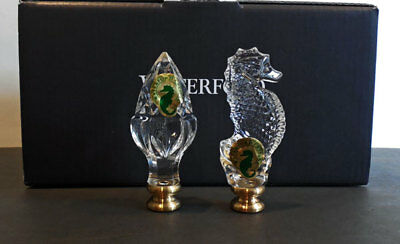 2 WATERFORD LAMP FINIALS - set / SEAHORSE & ACORN (crystal)  NEW / Box **SALE**