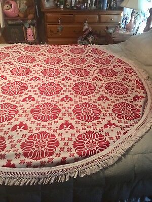 Vintage Large Tablecloth (Coverlet Weight) Round Red/White Americana