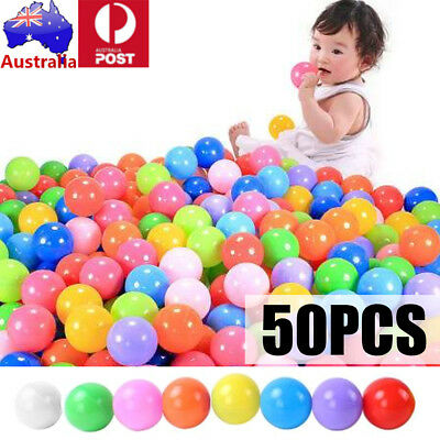 50PCS Swim Fun Colorful Soft Plastic Ocean Ball Secure Baby Kid Pit Toy 8 COLORS