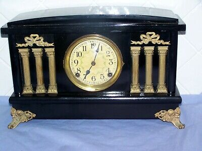 Antique American Sessions 8 Day Black Timber Mantle Clock C1900