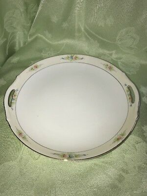 "Antique Noritake ""The Sedan"" 9½"" HANDLED CAKE PLATE ~ White with Cream Border"