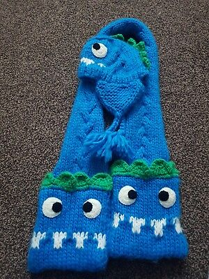 Childrens Monster Scarf And Hat Set