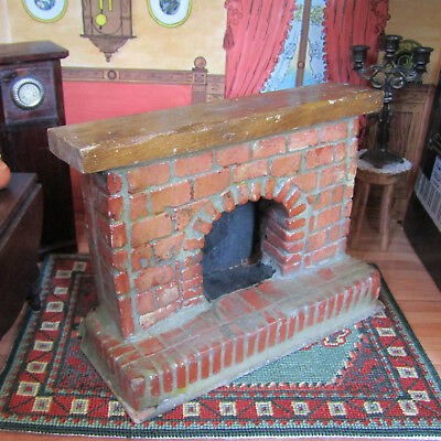 Vtg Dollhouse RED BRICK FIREPLACE Miniature Handmade MID CENTURY 50s 60s 70s?