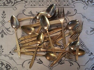 23 Pc. Gold tone Craft Lot, Stanley Roberts Stainless Steel Flatware, Japan