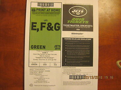Jets vs Packers Parking Pass - GREEN  Lot 12/23