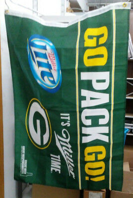 NEW MILLER LITE BEER SIGN BANNER FLAG OF THE GREEN BAY PACKERS Bar Pub Rec Room