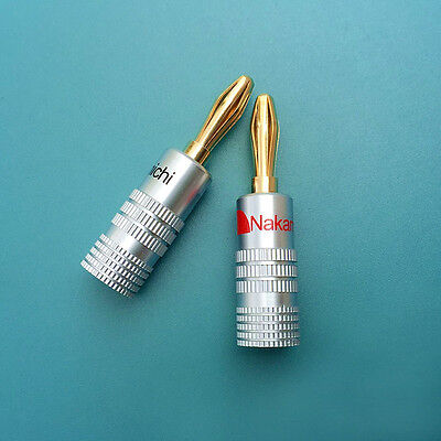 14pcs 24K Gold Plated Nakamichi Speaker banana plug Audio Jack connector