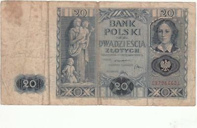 Old Poland Polish Banknote 20 Zlotych - 1936