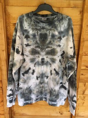 Unisex tie dyed hand-dyed inkblot black gothic emo skater jumper Size L Gift