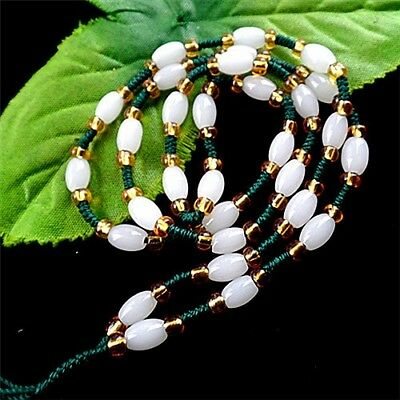 M20903  8x6mm 1set/20inch Beautiful white Jade column Loose bead