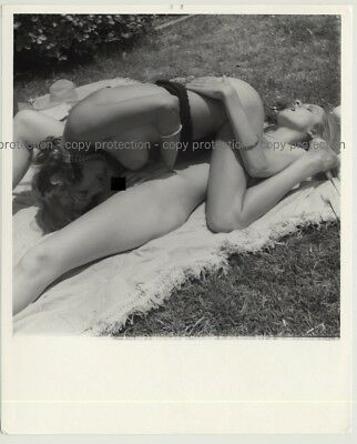 2 Nude Beauties On Picnic Blanket / Nature  (Vintage Photo Master B/W ~1970s)