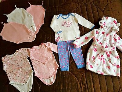 Girls Bodysuits Vests Pjs Dressing Gown bundle 12-18 months