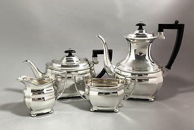 Art Deco silver plate 4pc coffee/tea set baluster bun feet Bakelite sugar milk