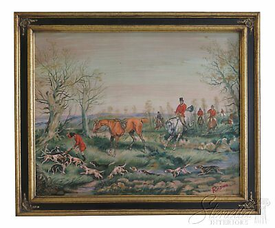 LF46488EC: English Countryside Hunt Scene Oil Painting On Canvas