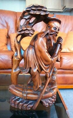 Stunning Antique Chinese Carved Wood Fisherman Standing On Raft.