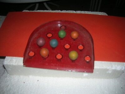 1900's Roll A Marble Ball Table Top Game Steel Board Wooden Marbles