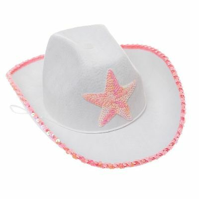Novelty White Felt Cowgirl Hat with Pink Star Child Hat