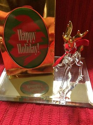 GLASS BARON Crystal Christmas Reindeer With Picture Frame 2