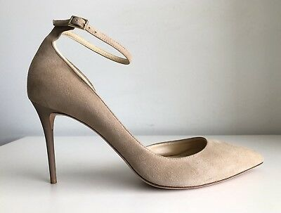 0bbd7fe6d25 JIMMY CHOO LUCY Half d Orsay Nude Suede Ankle Strap Pump. Size 40.5 ...