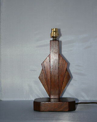 Vintage Art Deco Wooden Fan Shaped Table Lamp