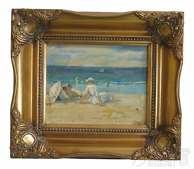 LF46492EC: Small Framed Oil On Canvas ~ Mother & Children At The Beach
