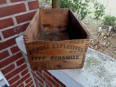 Vintage Scarce Dupont Explosives Ffff Dynamite Wooden Box Wood Crate Primitive
