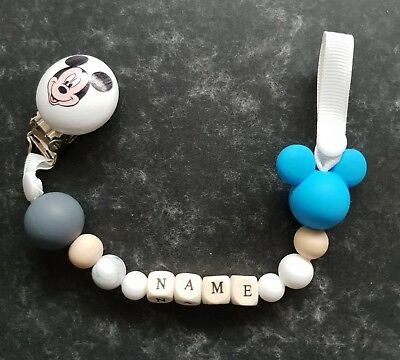 Baby boy personalised silicone dummy clip Mickey Mouse pacifier holder