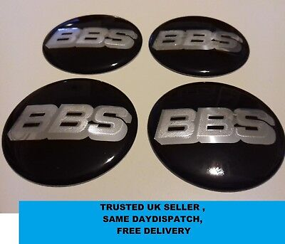 4 x BBS 60mm Centre Cap Stickers / Gloss Black & Silver / Alloy Wheel Hub Badges
