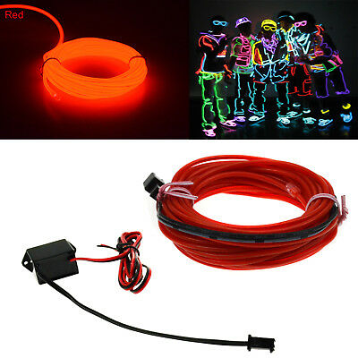 1x 3Ft Red El Wire Neon LED Light Glow String Strip Rope Tube + 12V Controller