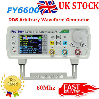 FY6600 60MHz DDS Dual Channel Function Waveform Signal Generator 20Vpp + CD UK
