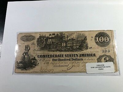 1862 $100 T-40 Confederate States Currency Locomotive Note Vg/au