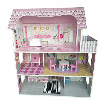 Large Children Wooden Pink Dollhouse Kid Girls House Play w/ 8Pcs Furnitures Toy