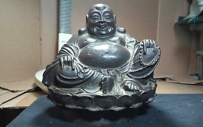 Incredible,vintage heavy large cast metal seated smiling Buddha sculpture,Asian