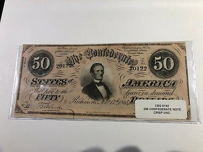 1864 $50 T-16 Csa Confederate Currency Richmond Crisp Unc