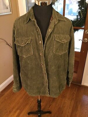 J Crew Heavy Corduroy Shirt With Flannel Lining Mens Large Hunter Green