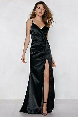 9ee94b5c20 NWT Nasty Gal Lucy Wang Black Satin Maxi Ruched Evening Formal Dress Size M  Gown