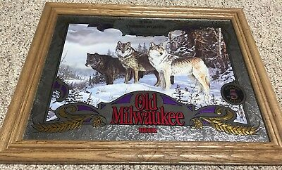 "New Wildlife Series OLD MILWAUKEE Beer Mirrors ""THE TIMBER WOLVES"""