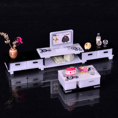 1/12 Dolls House Miniature Furniture TV Cabinet End Table Set Living Room