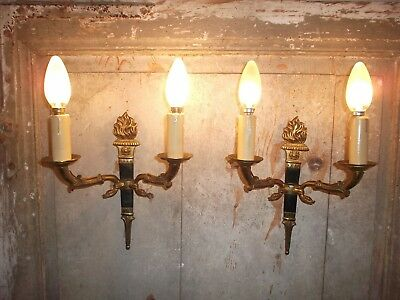 French a pair of swan ornate bronze wall light sconces gorgeous antique  vintage